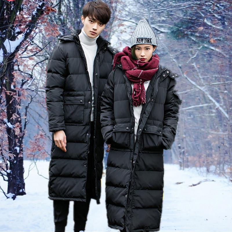 冬款男士加厚加长款棉衣情侣款防寒工作棉服加长过膝棉袄宽松外套