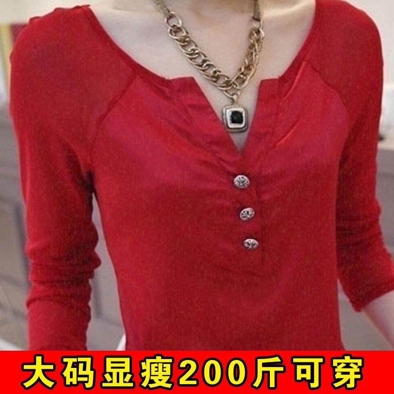 Плюс размер женщин жира мм осенью 2015 новых продуктов и удобрений для повышения жира сестра длинный рукав t рубашка лаковое покрытие