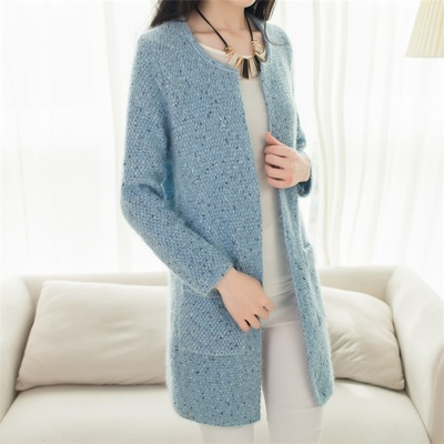 Dream love buds long autumn new fund Han edition wave pocket cardigan Female show thin knit sweater coat