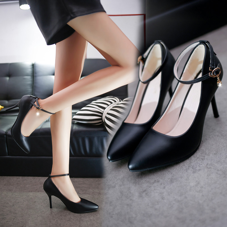 Autumn Mid Heel single shoes work shoes women black leather shoes pointed professional shoes one button thin heel high heel large size womens shoes
