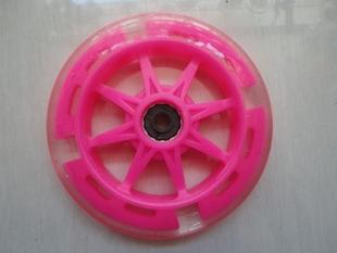 新品三轮四轮儿童滑板车超大轮配件125MPU静音闪光轮子配轴承磁芯