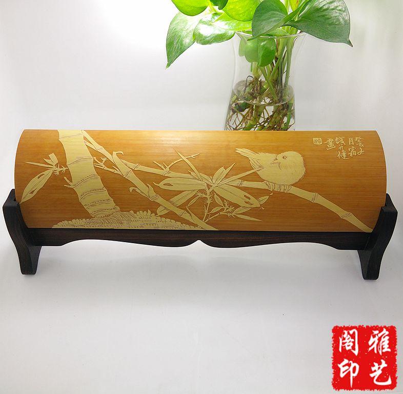 Сохранение зеленой руки, лежащей на экране Сохранение зеленой бамбуковой резьбы Бамбуковая резьба Dongyang бамбуковая резьба Цянь Xingjian painting Чистая ручная работа резьба по дереву