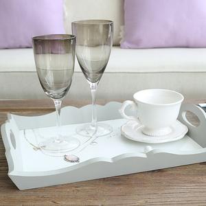 米子家居 欧式创意复古桌面装饰品摆件木质收纳托盘糖果盘茶盘