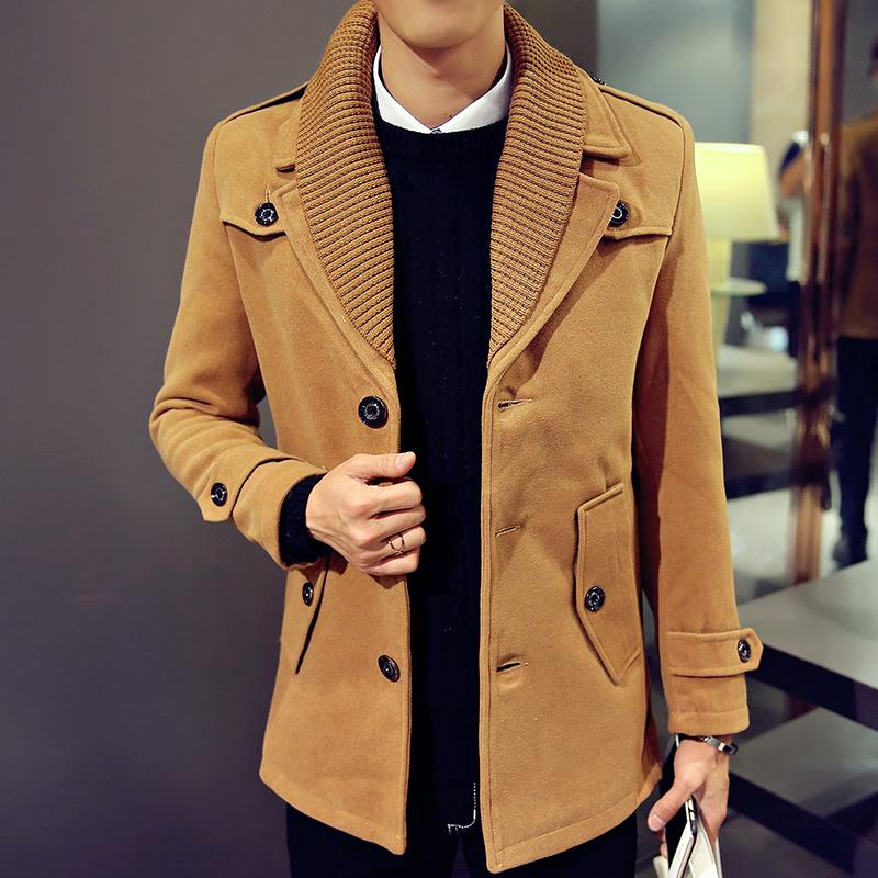秋冬男士中长款毛呢大衣 韩版修身呢风衣外套男 Y929-P110