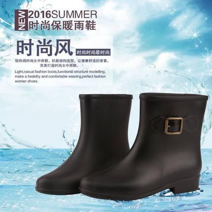 雨鞋女中筒雨靴女士秋冬保暖加绒水鞋防滑水靴女套鞋防水短筒雨鞋