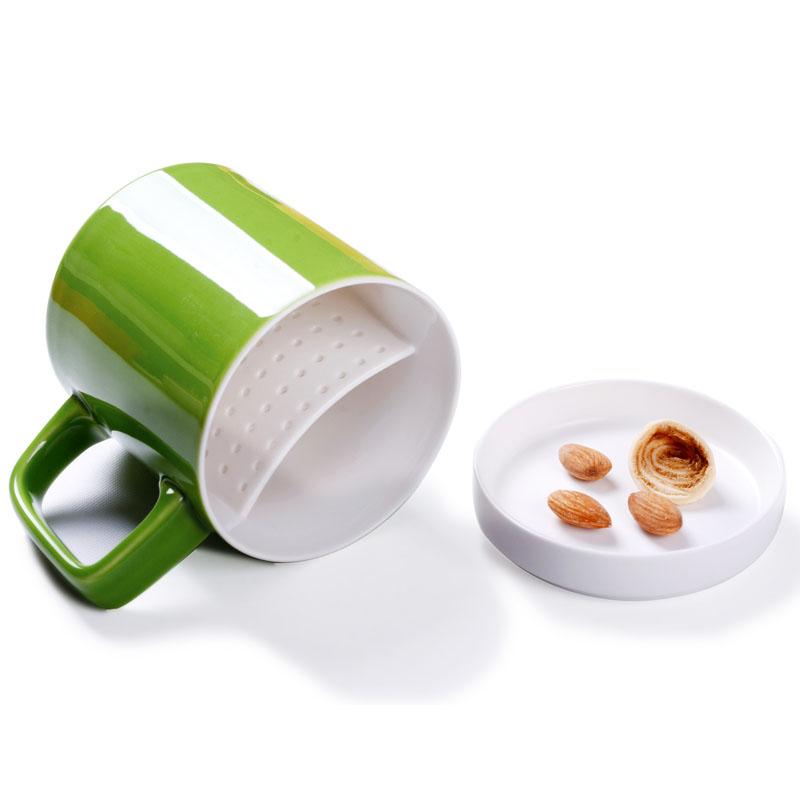 養生逸品瓷 大容量 情侶馬克杯 陶瓷帶蓋杯子水杯花茶過濾杯子