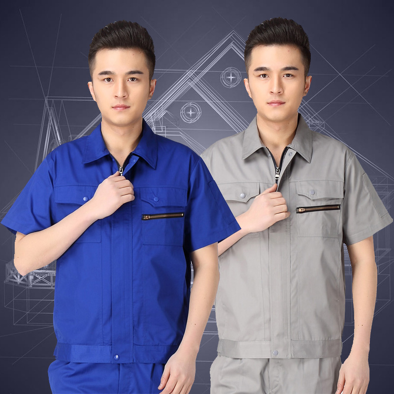 Summer short sleeve engineering suit anti static work suit male labor protection clothing auto repair engineering suit welder uniform summer