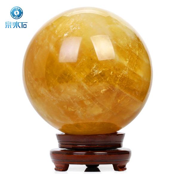 開光天然黃色水晶球擺件風水球七星陣招財轉運家居工藝品開業