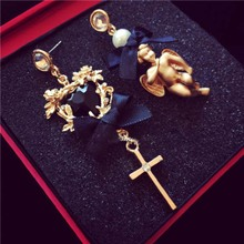 Full package mail Europe and the United States the new pendant earrings angel bows cross nightclub king
