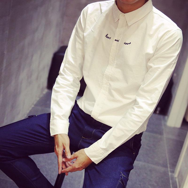 字母小胡子绣花韩版日系刺绣男士长袖衬衫 潮男水洗衬衣DC11P20特