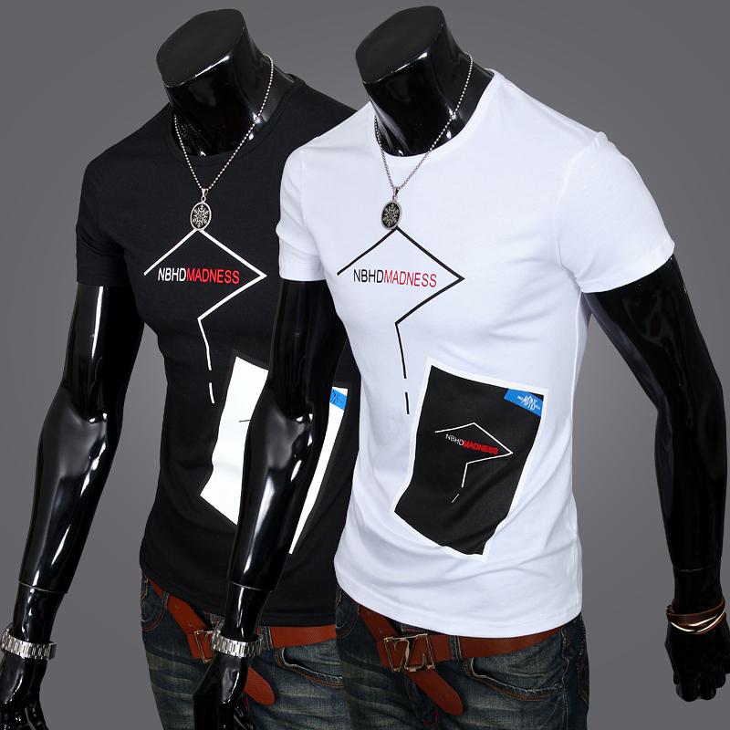 2015 году новый стиль мужчины с короткими рукавами Корейский моды тонкий мужчин короткие t рубашка белая футболка Черная