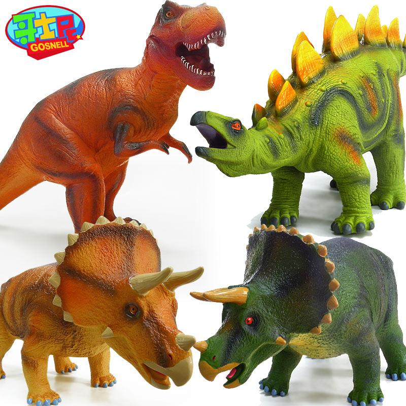 哥士尼大軟膠恐龍霸王龍玩具劍暴三角 侏羅紀公園動物模型擺件