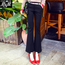 Spring Korean version shows slim, high waist, 9 minutes fish tail, micro bell trousers, women's sagging casual suit, pants, new style of 2019