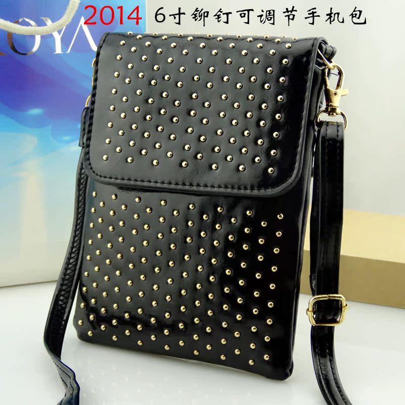 После 2014 Корейский сотовый телефон кошелек плечо диагональная старинные заклепки прилив для прохладный мини сумка сумка сумки женщин