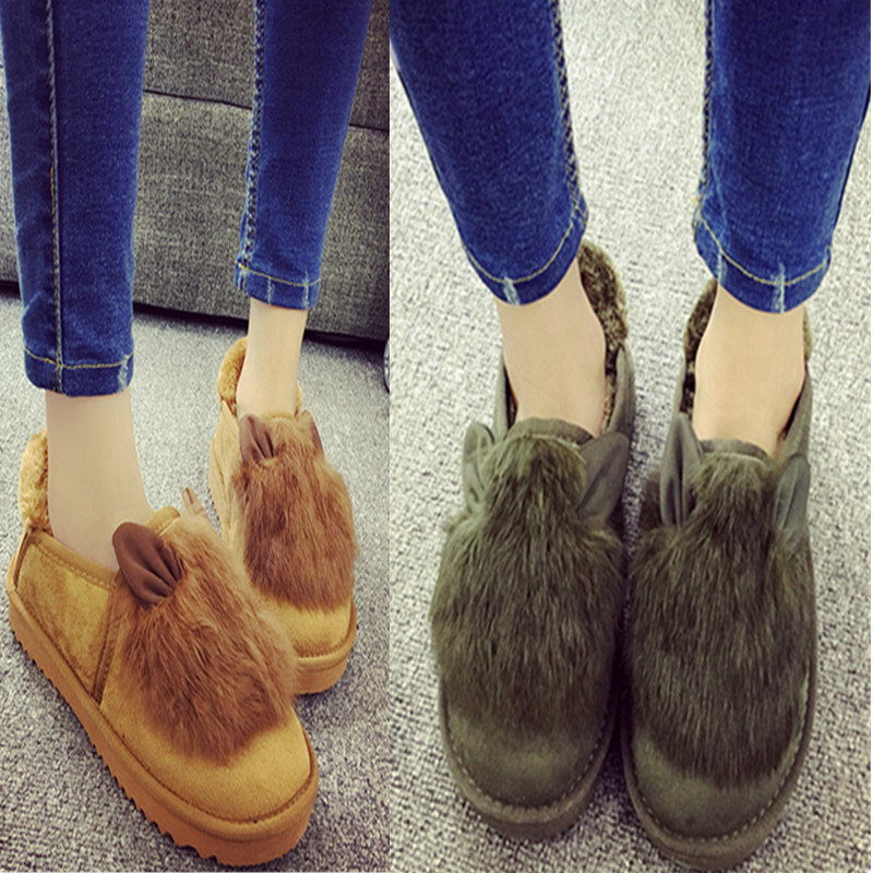 Spring and autumn winter new girl fashion trend Plush thick soled low top shoes cotton shoes fur integrated deer shoes
