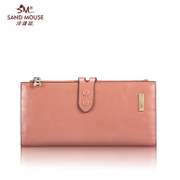 Beach mice new wax leather money clip wallet of leather ladies wallet large zip around wallet clutch bag