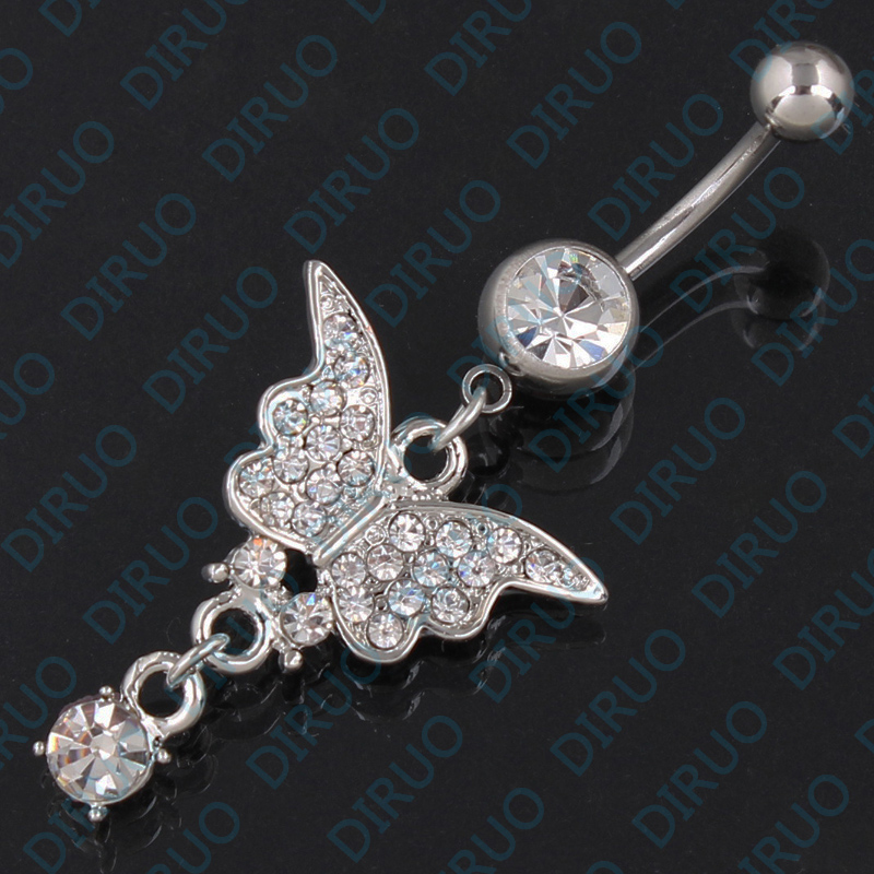 Butterfly belt drill 316L medical stainless steel navel Button Navel Ring Navel nail non allergic jewelry