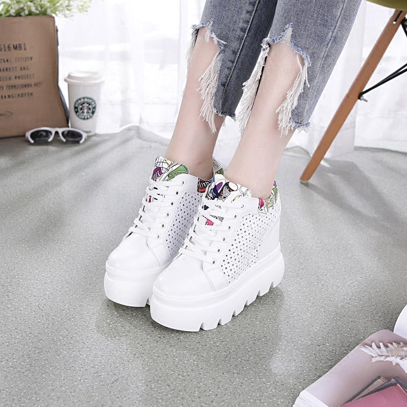 震地王女鞋夏季镂空单鞋女厚底松糕韩版高跟休闲鞋内增高小白鞋