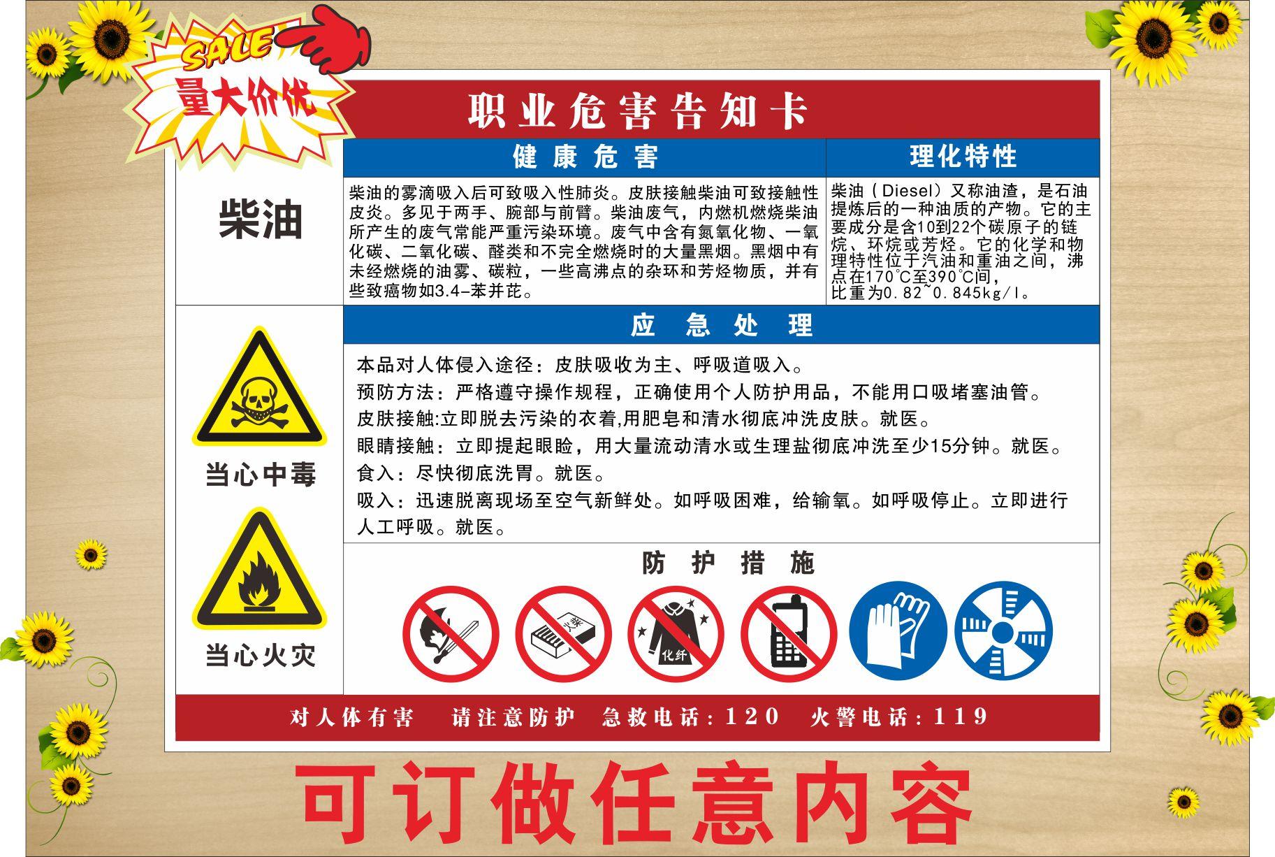 Gasoline occupational hazard notification card chemical hazard awareness card warning board safety warning board v-024