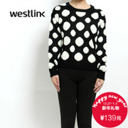 Westlink/West New 2015 winter stretch knit sweater polka dot cropped knit sweater