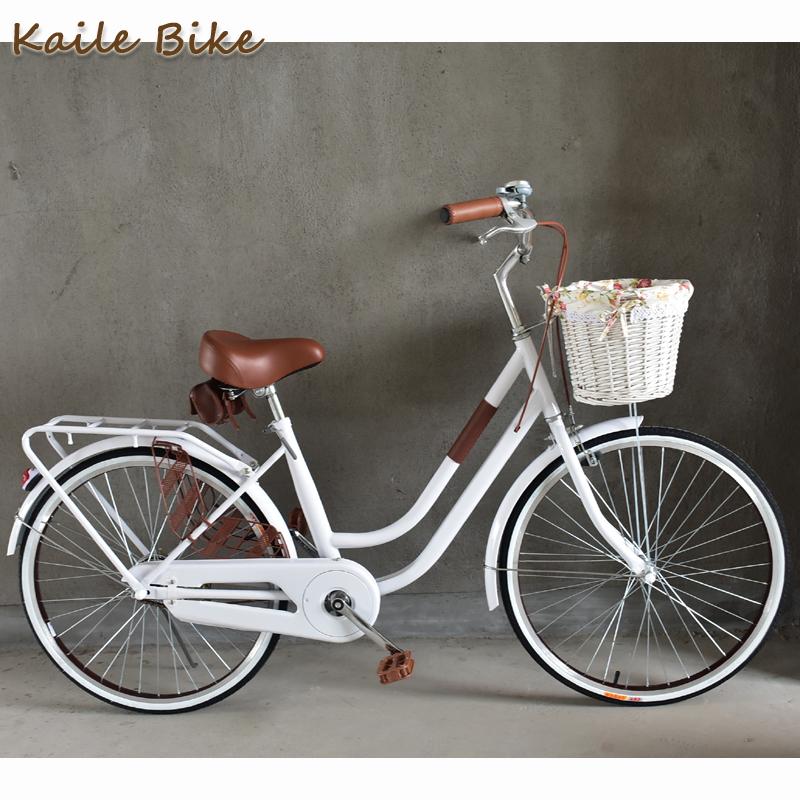 菲利普24寸自行车女款弯梁文艺漂亮复古半包链纯色白米黄绿棕轻快