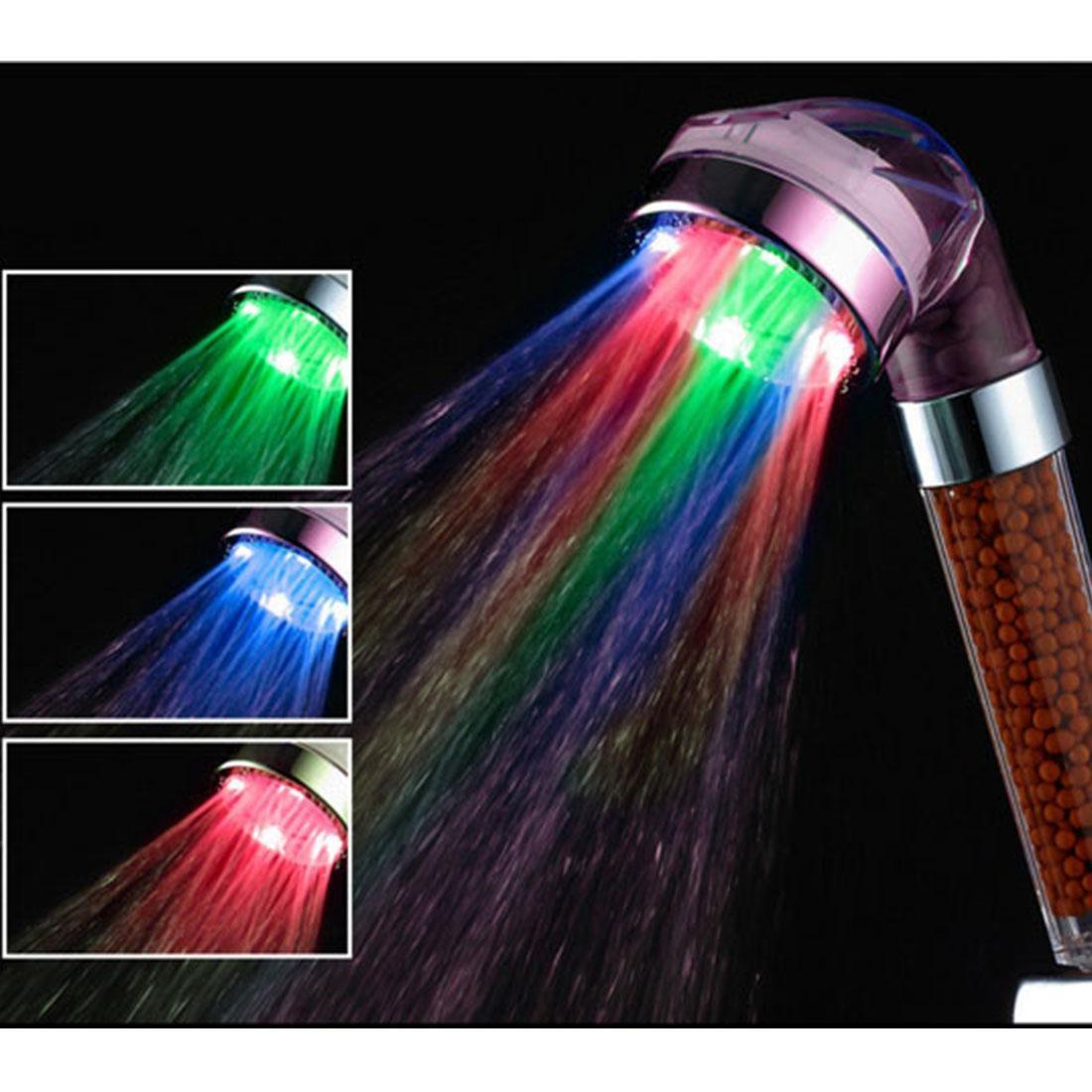 7 colors change led shower tourmaline spa anion hand held b