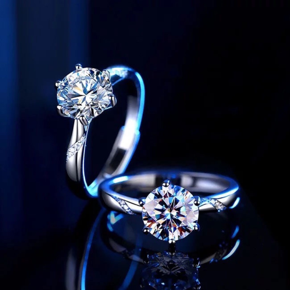 进口莫桑石通灵女戒指白金钻戒pt950铂金一克拉求婚情侣对戒灵