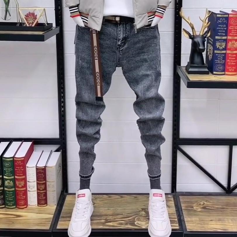 牛仔裤男韩版弹力修身潮流秋冬季加厚新款社会精神小伙小脚裤子潮