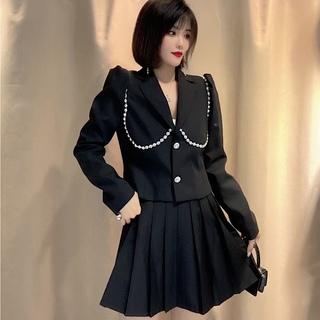 女装2021年秋季新款时尚重工外套百褶裙两件套减龄西装套装女炸街