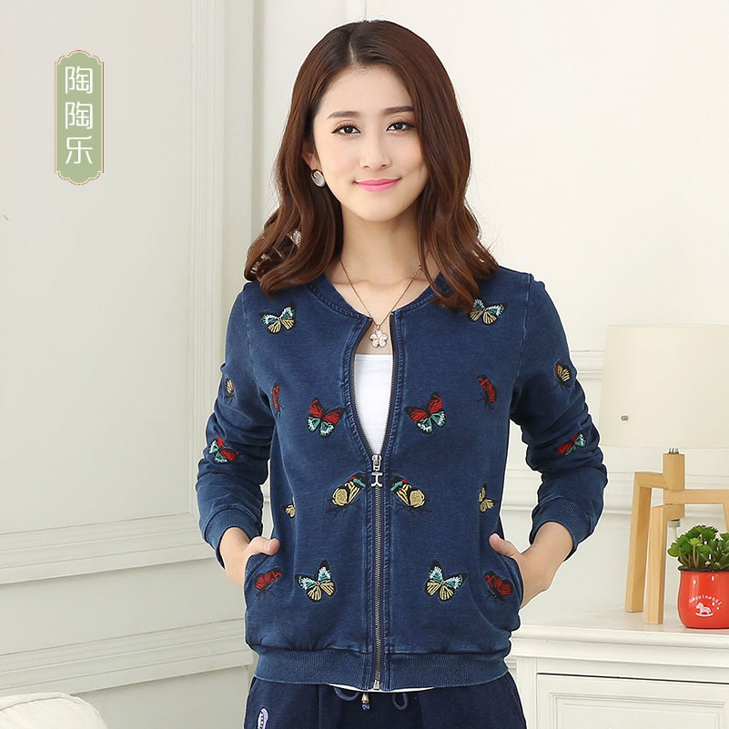 2017 spring and autumn butterfly knitting denim national style short Embroidered Jacket Top Womens three-dimensional decoration