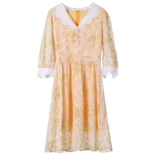 法式桔梗甜美初戀長裙小個子娃娃領可甜可鹽少女氣質連衣裙女神範