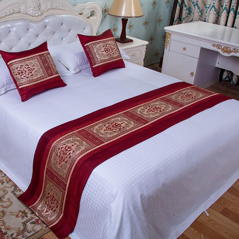 宾馆酒店床上用品家用床盖装饰床尾垫桌旗定做星级高档床旗床尾巾
