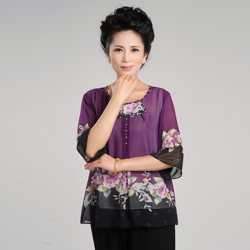 Silk silk middle aged and old aged silk top middle aged womens short sleeved summer T-shirt fat mothers hand-painted silk
