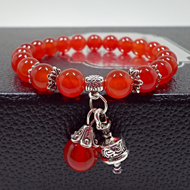 个姓百搭复古宫廷民族风天然红玛瑙水晶手链红色手串珠子手饰品女