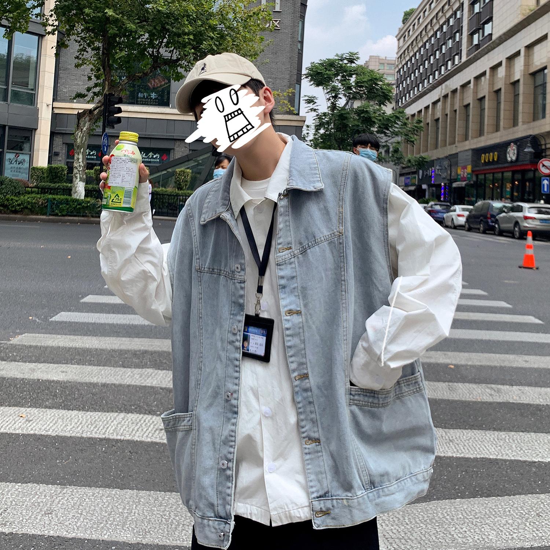 Denim vest mens ins fashionable and handsome Vest Jacket Vintage work clothes shoulder loose BF Hong Kong style spring coat
