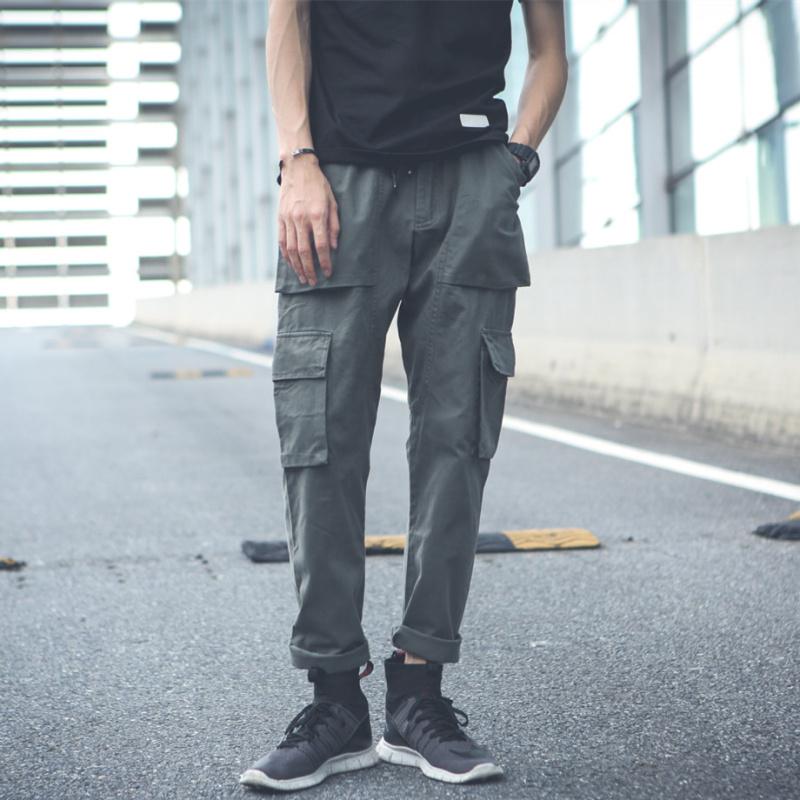 秋季工装裤男潮牌青年休闲宽松口袋长裤ins潮流小脚裤 余文乐布裤