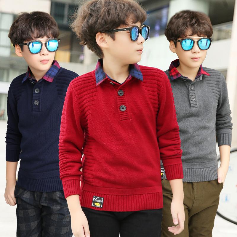 男童加绒加厚毛衣秋冬款假两件套头儿童12中大童15岁衬衫领冬装潮