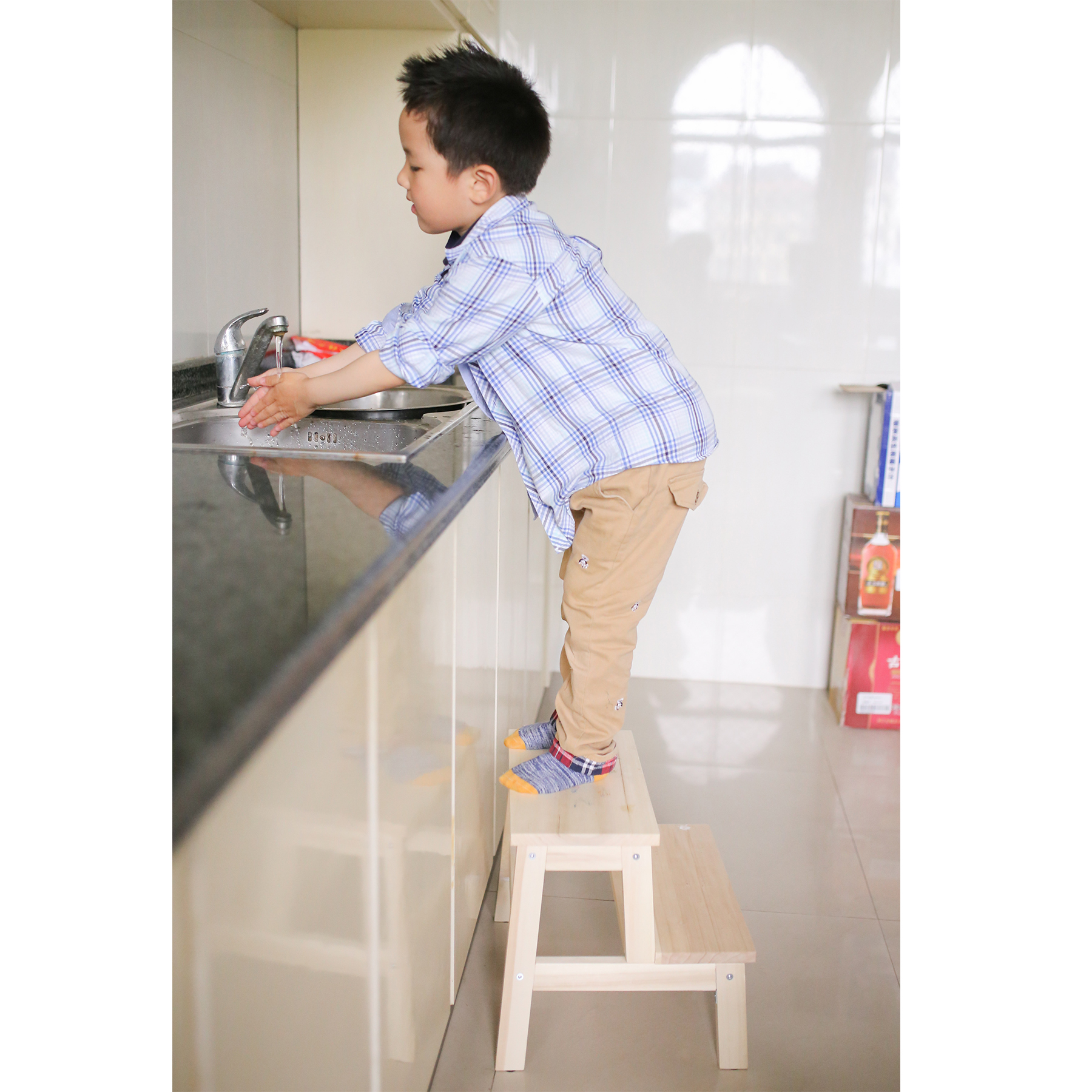 Ребенок ребенок табуретка ребенок мойте руки табуретка дерево протектор скамеечка для ног лестница табуретка лестница табуретка подушка скамеечка для ног выращивание табуретка
