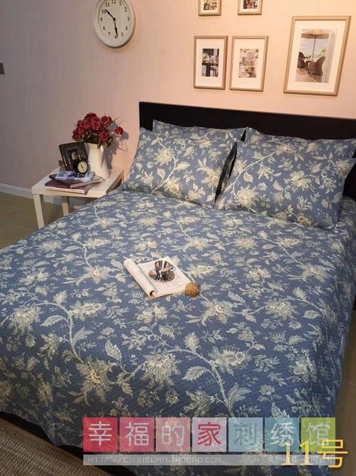 韩国纯棉水洗绗缝夹棉床盖印花床单夏凉垫空调被床上用品三件套