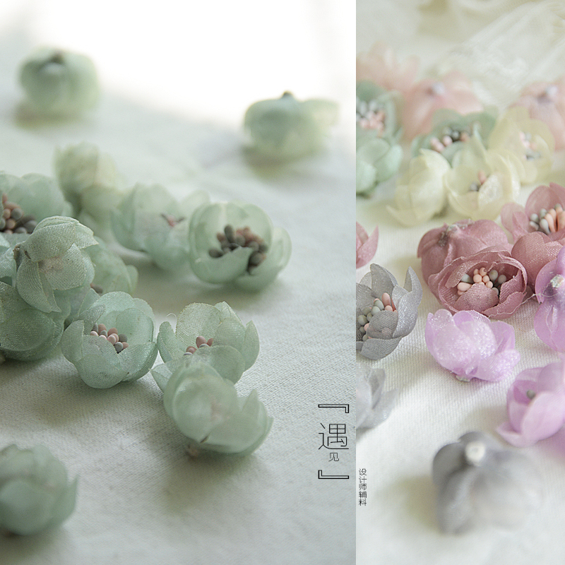 Hand made BJD baby dress three dimensional Organza small flower bud mini flower accessories dress headdress flower skirt decoration