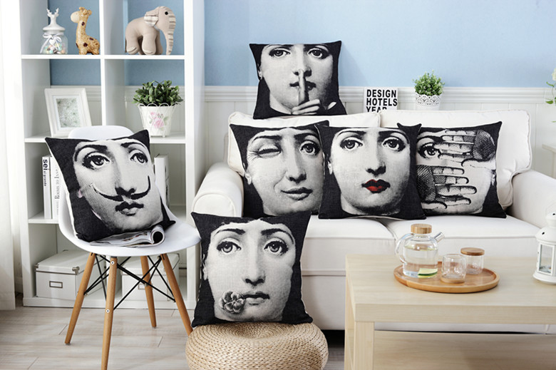 Retro Fornasetti art master Nordic cotton linen IKEA sofa pillow cover cushion cushion cushion upholstery pillow