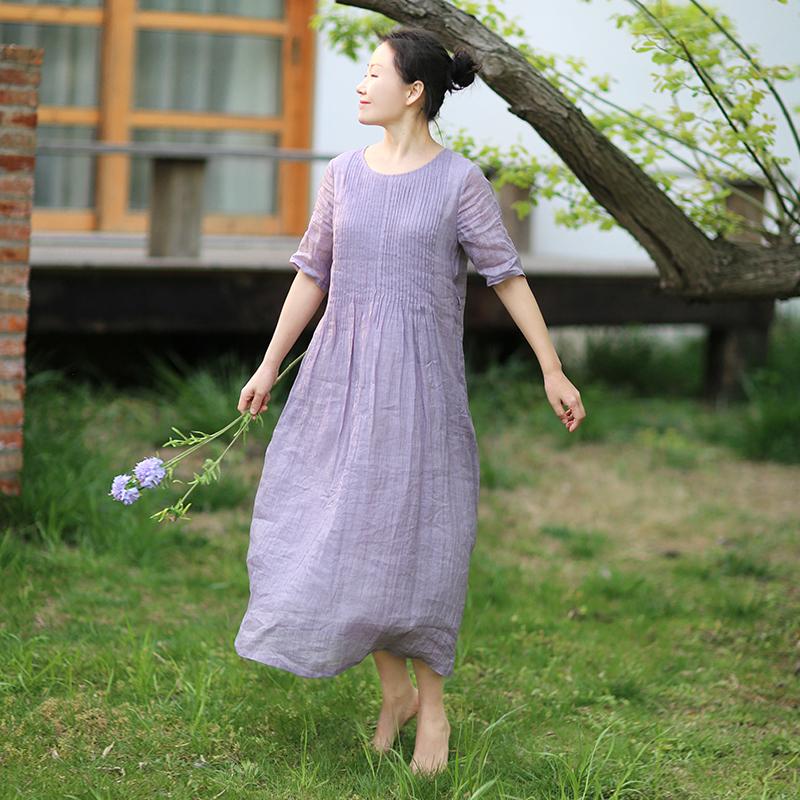 忘城8423座/远山淡影/2020夏季烟紫色轻薄苎麻连衣裙飘逸双层不透