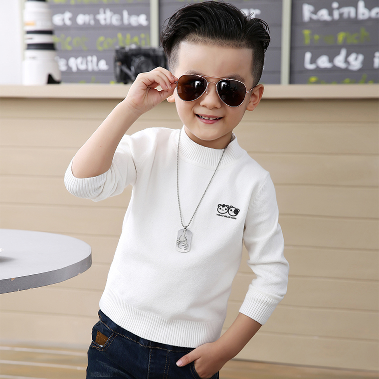White childrens sweater new winter childrens clothing boys T-shirt coat middle school childrens Pullover round neck sweater pure cotton