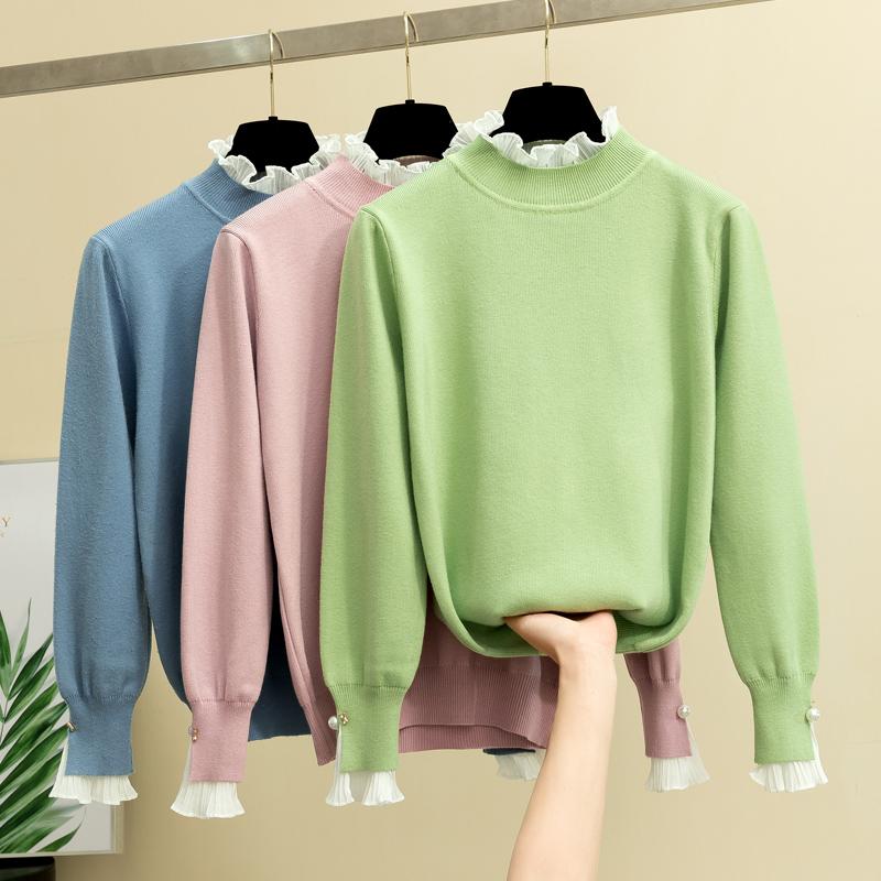 假两件毛衣女秋冬新款宽松百搭长袖内搭上衣花边半高领针织打底衫