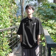 夏装新款男士polo衫韩版宽松翻领印花短袖T恤日系休闲学生半袖潮