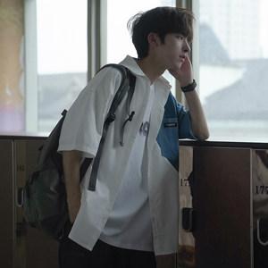 夏季男士短袖韩版宽松牛仔拼接衬衫