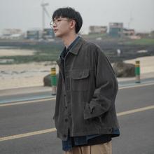 韩版 纯色chic宽松翻领复古秋季 灯芯绒外套 禾子先生男士 夹克衫
