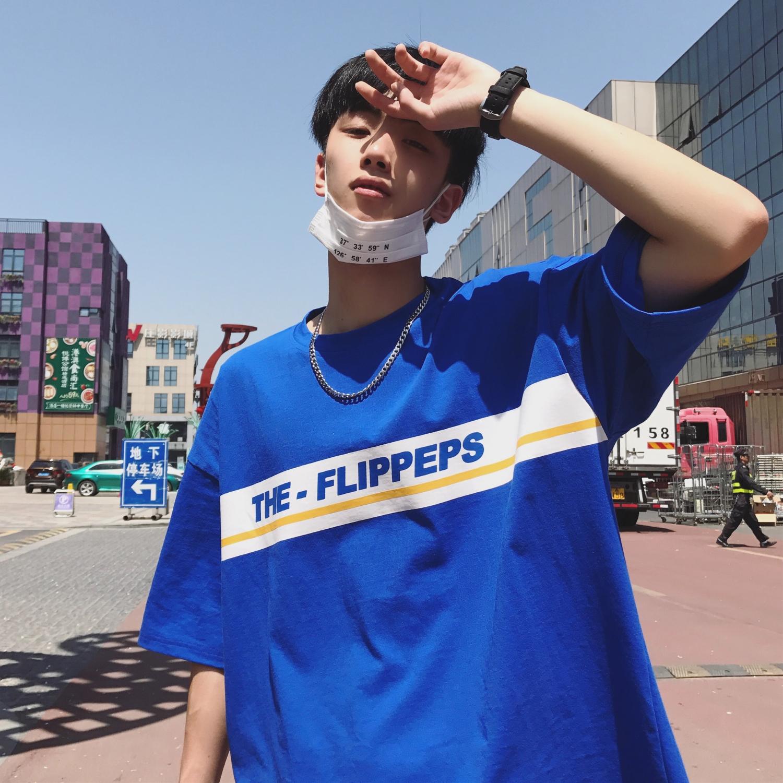 韩式潮流男士纯色夏季T恤港风条纹蓝色短袖韩版情侣装半袖上衣服