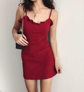 SUP桃心迷你裙 法式纯色木耳边吊带绑带收腰弹力显瘦连衣裙短裙