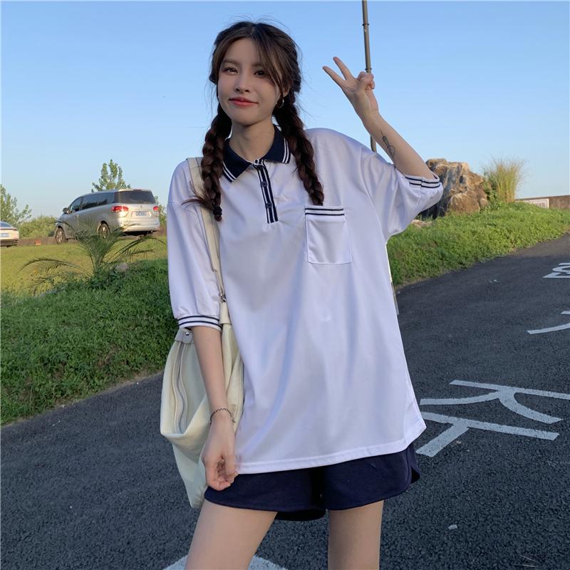 实拍2021新款美式复古白色休闲POLO领T恤女潮ins宽松慵懒短袖婋贰